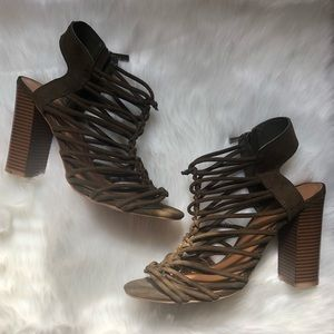 4c6083c07d BAMBOO. BAMBOO Stash Dark Green Knotted Strappy Heels